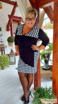 Fashion by NONO - Zelina fekete-fehér kockás ruha